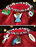 Nativity Cross Pendant Best Deals - Silver Tone Nativity Peace Noel Angel Enamel Christmas Charm Bracelet 7 1/2 Inch
