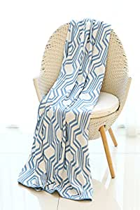 """Mika Home Geometric Pattern Cozy Bamboo Fiber Oversized Throw Blanket for Couch, Sofa, Travel, 50X70"""", Blue, White"""