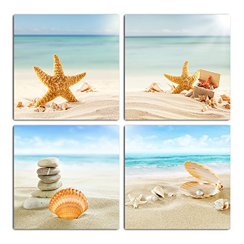 GOUPSKY Painting Giclee Artwork Beach Sea Shells Sand Stone Sunshine Starfish Seascape Canvas Wall Art Set Framed Stretched Ready to Hang]()