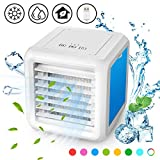 Baban Portable Air Conditioner Fan-Personal Mini Air Cooler, 3 in 1 USB Evaporative Coolers LED Table Fan with 2 Detachable Waterboxes, 3 Speeds, Ultra-Quiet Table Fan for Home Office Bedroom Kids