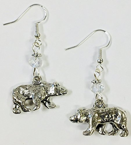 - Bear Charm Earrings, accented with clear faceted crystal accent bead, on sterling silver earwires