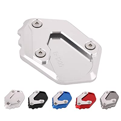 AnXin Motorcycle CNC Kickstand Foot Side Stand Extension Pad Support Plate For BMW R1200 GS LC 2013 2014 2015 2016 2020 - Silver: Automotive