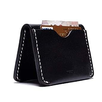 MEKU Men's Handmade Slim Leather Wallet Minimalist Credit