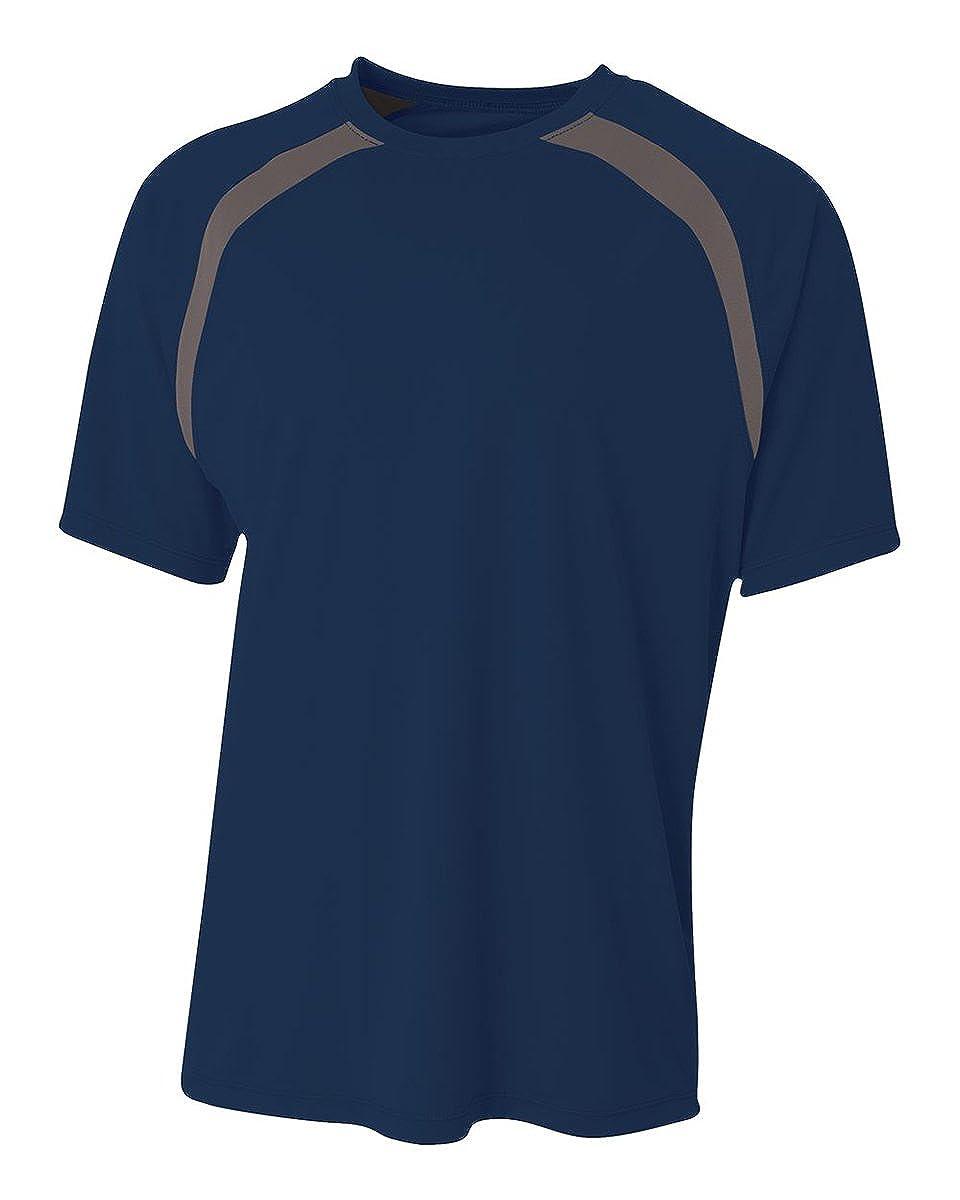 A4 Boys Spartan Short Sleeve Color Block Crew Shirt