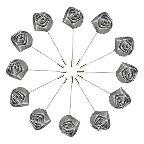 Argositment Wedding Small Rose Boutonniere for Men's Suit Handmade Lapel Pin Flower-Gray(Pkg of (Pkg Rose)