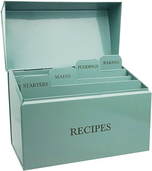 Garden Trading diseño de espiga azul caja de lata para guardar recetas: Amazon.es: Hogar