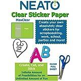 "Printable Transparent Sticker Paper - 8.5"" X 11"" Blank Custom Label Sticker Sheets - 10 Clear Sheets - for Inkjet Printers - Weatherproof - Tear Resistant- Includes Online Design Software"