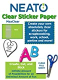 Neato Clear Labels - Transparent Full Sheet Printable Sticker Paper – 10 Totally Clear 8''.5 x 11 Sheets