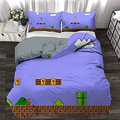 ZLMQWANXX Super Mario Odyssey Bedding 3-Piece Queen Bed Sheets Set, Super Mario Odyssey Duvet Cover Kids Light Weight Ultra Soft and Breathable Comforter Cover (EU Super King 260cmx220cm): Home & Kitchen