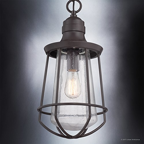 Luxury Vintage Outdoor Pendant Light, Large Size: 20''H x 9.5''W, with Nautical Style Elements, Cage Design, Estate Bronze Finish and Seeded Glass, Includes Edison Bulb, UQL1125 by Urban Ambiance by Urban Ambiance (Image #3)