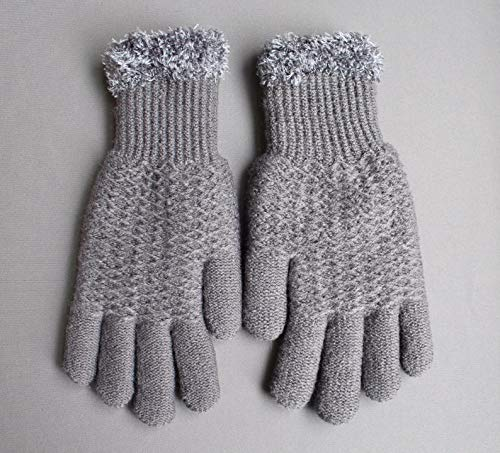 Fur Lined Glove - Dk Grey Gray lined gloves faux fur knit stretch gloves winter super warm ladies