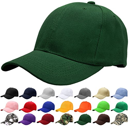 Falari Baseball Cap Adjustable Size Solid Color G001-11-Hunter Green