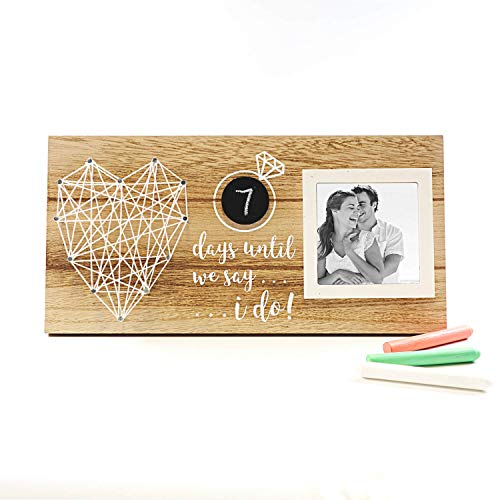 (VILIGHT Engagement Gifts for Her Couples Picture Frame - Days Until I Do Rustic Wedding Countdown Sign for Bride to Be)
