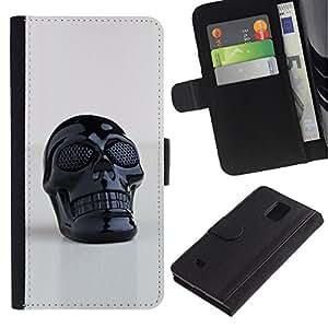 Billetera de Cuero Caso Titular de la tarjeta Carcasa Funda para Samsung Galaxy Note 4 SM-N910 / Skull Plastic Reflective 3D Art Printing / STRONG