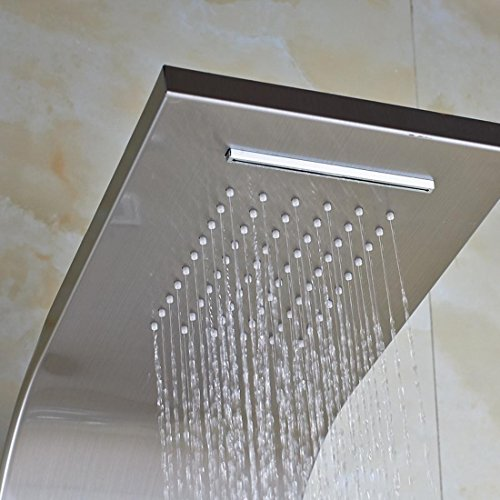 low-cost HYY@ Brushed Nickel Shower Set Waterfall Rain Tub Shower Column Panel with Hand Shower Digital Temperature Display Power by Battery