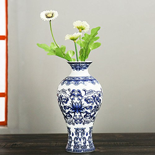 (Kicode Antique Wall Mounted Porcelain Vases Traditional Chinese Blue White Flower Painted Rare Ceramic Living Room Home Ornaments)
