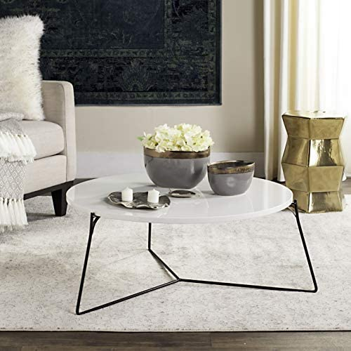 Safavieh Home Collection Mae Modern White Lacquer Round Coffee Table