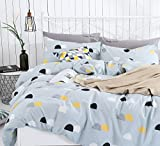 How Big Is a Eastern King Bed SUSYBAO 3 Pieces Duvet Cover Set 100% Natural Cotton Queen Size Blue Half Dots Print Bedding Set 1 Duvet Cover 2 Pillowcases Hotel Quality Soft Breathable Hypoallergenic Durable with Zipper Ties