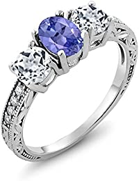 1.87 Ct Oval Blue Tanzanite and White Topaz 925 Sterling Silver Women's 3-Stone Ring (Available in size 5, 6, 7, 8, 9)