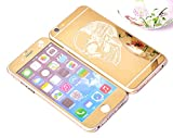 Dreams Mall(TM)Top Fashion Electroplating Mirror Effect with Skull Tempered Glass Screen Protector Film Decal Skin Sticker Front & Back for Apple iPhone 6 and 6S 4.7 inch-Gold