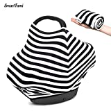 Baby Car Seat Cover SmartFami 4-In-1 breastfeed Covers,baby car seat cover, Protects Baby In Car Seat/High Chair/Grocery Cart, Super Light Stretchy Comforting, Perfect For New Mum