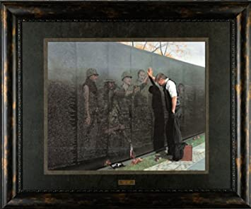Picture Peddler Reflections by Lee Teter 26X22 Quality Framed Matted Print – Military Vietnam War Veterans Memorial Wall – Conservation Glass – Ready to Hang