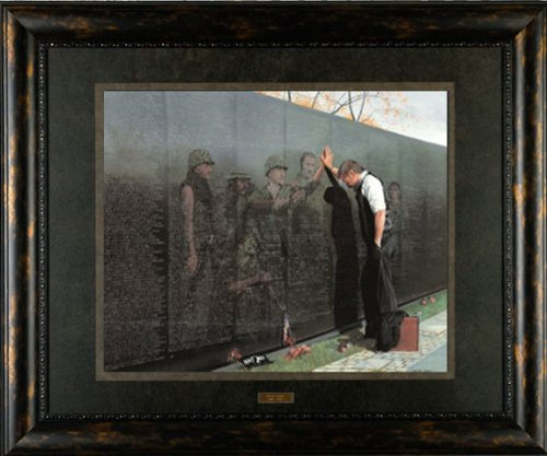 (Picture Peddler Reflections by Lee Teter 26X22 Quality Framed & Matted Print - Military Vietnam War Veterans Memorial Wall - Conservation Glass - Ready to Hang)