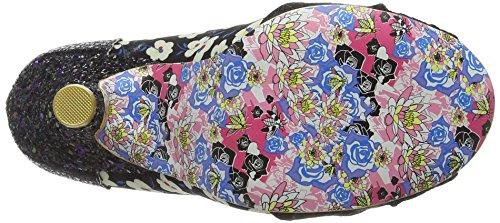 Irregular Choice Smartie Pants - punta cerrada de sintético mujer Negro (Black/White)