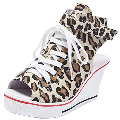 ACE SHOCK Women Wedge Sandals Peep Toe High Heeled Wide Width Slingback Summer Sneakers (US 8, -
