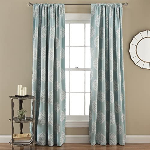Lush Decor Sophie Room Darkening Curtain Window Panel Pair, 84 inch x 52 inch, Blue, Set of 2, 84 X 52
