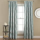Lush Decor Sophie Room Darkening Curtain Window Panel Pair, 84 inch x 52 inch, Blue, Set of 2