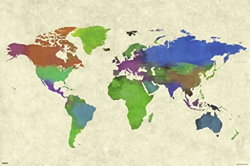 World Map Painting White Poster 24x36 inch