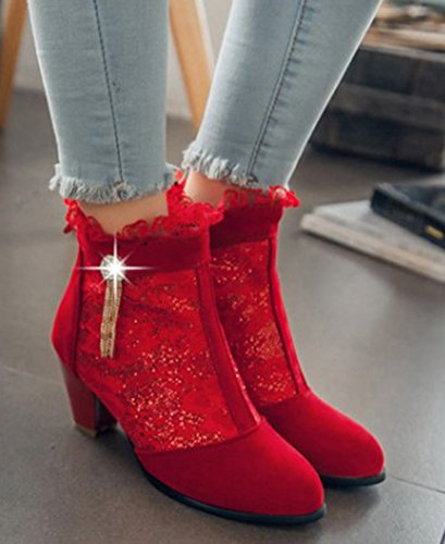 Aisun Womens Elegant Laces Pointed Toe Back Zipper Dress Chunky Medium Heels Booties Red MftBk