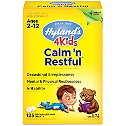 Sleep Aid Tablet for Kids Calm 'n Restful Calms Forte by Hyland's Kids, Natural Relief of Stress, Anxiousness, Nervousness and Irritability for Children, 125 Count