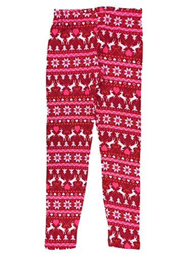 Junior Womens Red Nordic Reindeer Fleece Lined Christmas Holiday Heart Leggings (Boundary Fleece)