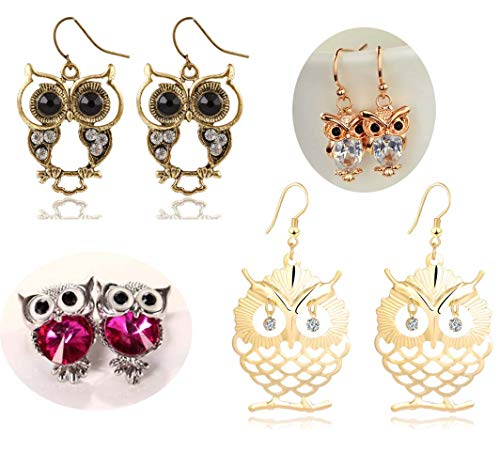 Owl Bird for Womens Girls Dangle Cute Pretty Jewelry Earrings 4 Pairs]()