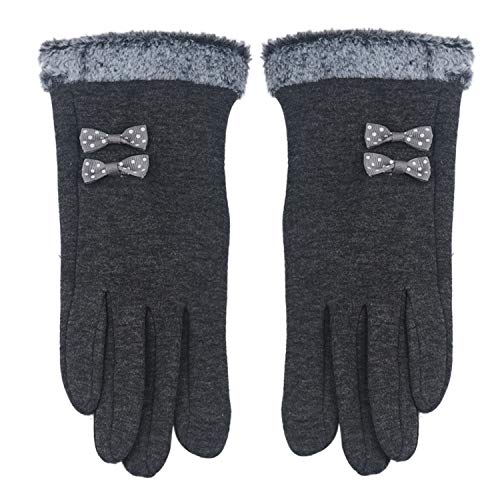 - Touch Screen Gloves Winter Bow Splice Gloves Mittens Cashmere Wrist Guantes guantes,Gray