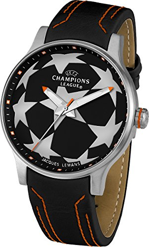 Jacques Lemans UEFA U-37D 46mm Stainless Steel Case Leather Mineral Men's & Women's Watch
