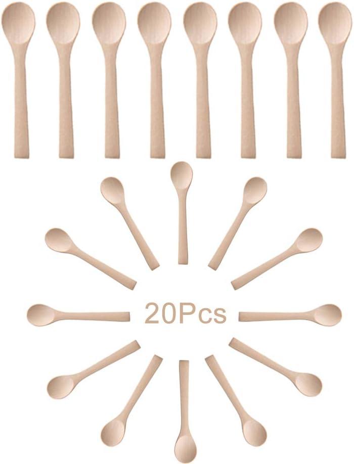 Cuill/ère en Bois /À La Main en Bois Petit Serving Spoons Condiments Sel Cuiller Miel Caf/é Th/é Petite Cuill/ère De Sucre Sel Confiture Moutarde Cr/ème Glac/ée Cuiller 1pc