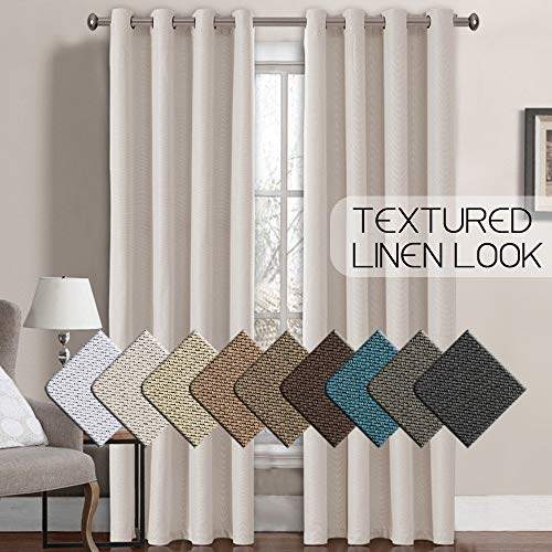 Linen Curtains 84 Room Darkening Linen Look Curtain Light Blocking Curtains Thermal Insulated Heavy Weight Textured Rich Linen Curtains for Bedroom/Living Room Curtain,52 by 84 Inch - Ivory (1 Panel)