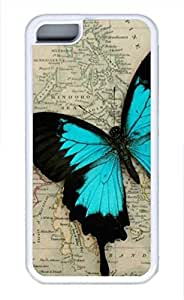 iPhone 5c case, Cute A Blue Butterfly On The Map iPhone 5c Cover, iPhone 5c Cases, Soft Whtie iPhone 5c Covers