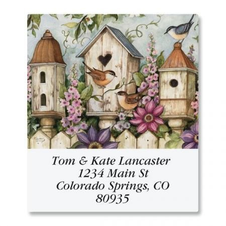 (Spring Birdhouse Square Address Labels - Set of 144 1-1/2 x 1-3/4 Self-Adhesive, Flat-Sheet labels)