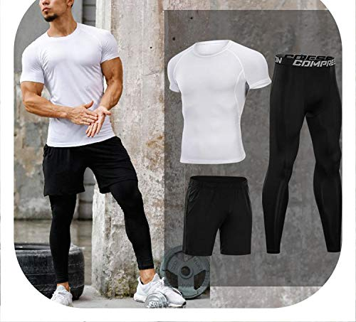Romantico Men's Workout Tights Quick Dry Compression Runnning Sport Suits Basketball Clothes Gym Fitness Exercise Sets,White - Madrid Chair Office