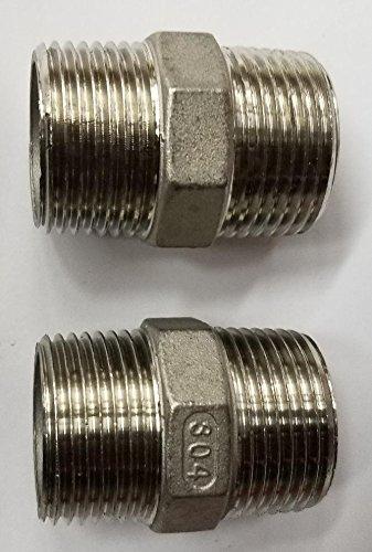 2pack Stainless Steel 304 Hex Nipple 1 1/4'' Npt Pipe from TIB