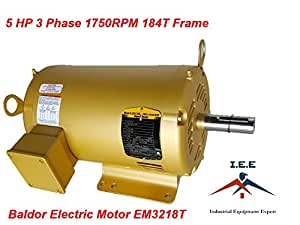 Em3218t 5 hp 3 phase 1750 rpm 184t new baldor eletric for 15 hp 3 phase baldor motor