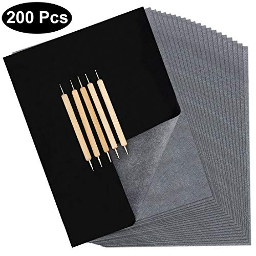 Blisstime 200 Sheets Transfer Paper, Carbon Paper, Black Transfer Sheets, Graphite Tracing Paper with 5 PCS Wood Embossing Stylus Tools for Wood, Paper and Other Art Surface Drawing, DIY