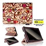 """ThanksCase Smart Beige Owls Case Cover for Amazon Kindle Fire HD 7 2nd Gene (will only fit Kindle Fire HD 7"""" 2013 Release) Canvas Owls Case with Standing Feature with Elastic Hand Strap for HD 7 2013 Release.(Beige)"""