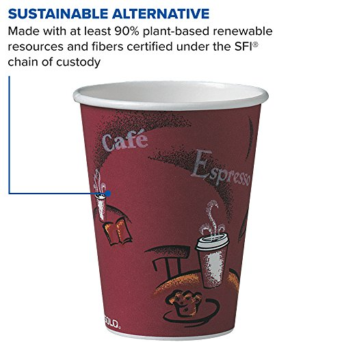 Solo 412SIN-0041 12 oz Bistro SSP Paper Hot Cup (Case of 1000) by Solo Foodservice (Image #4)