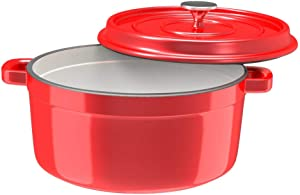 Especo Cast Iron with Lid Enameled Dutch Oven Casserole Dish Nonstick Multi-functional Cookware Large Loop Handles & Self-Basting Condensation Ridges On Lid (6-quart, Red)