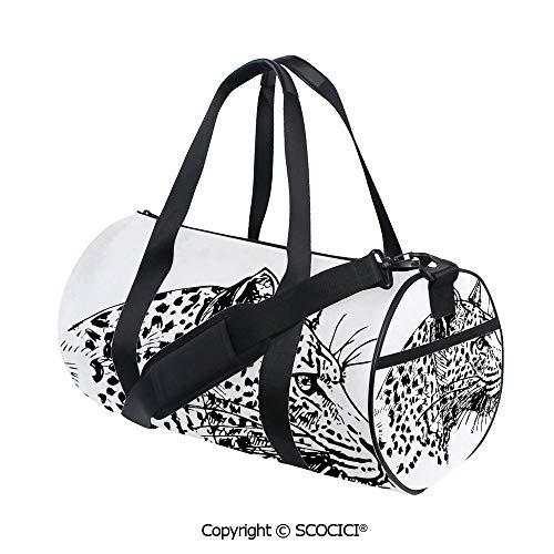 - Unisex Cylinder Sports Bag,Hand Drawn Jaguar Profile Wildlife Jungle Animal African Safari Theme ArtworkInner Dark Grid,(17.6 x 9 x 9 in) Black White